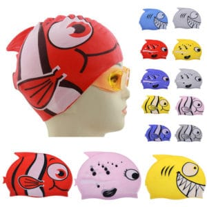 Silicon Waterproof Kids Fish Swim Cap
